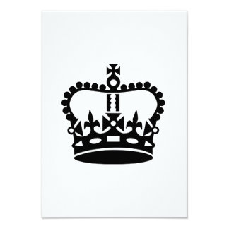 Black king crown 9 cm x 13 cm invitation card