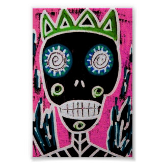 Black King Sugar Skull Poster