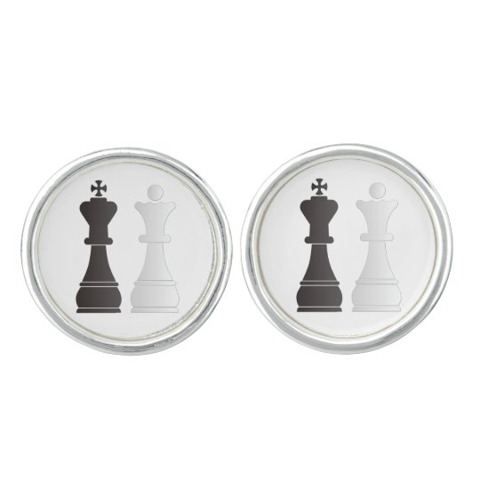 Black king white queen chess pieces cufflinks