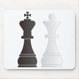 Black king white queen chess pieces mouse mat