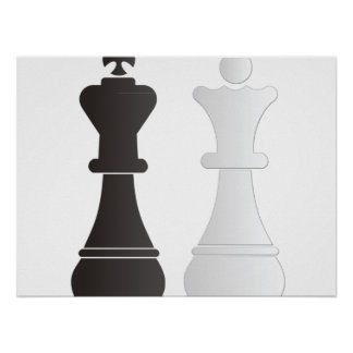 Black king white queen chess pieces poster