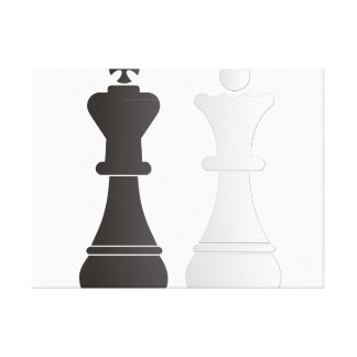 Black king white queen chess pieces stretched canvas print