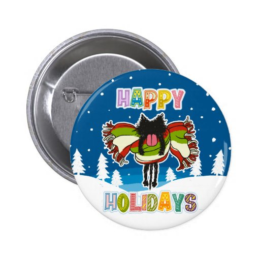 Black kitten and Colorful Happy Holidays Pinback Buttons
