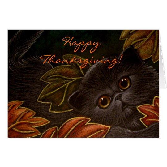 BLACK KITTEN CAT THANKSGIVING Card