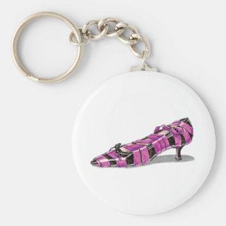 Black Kitten Heel with Pink Ribbon Basic Round Button Key Ring