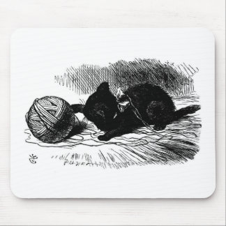 Black Kitten with Yarn Artwork Mouse Pad