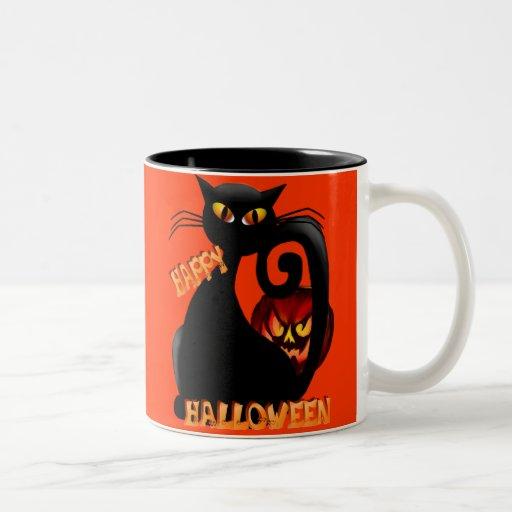 Black Kitty and Evil Halloween Pumpkin Mugs