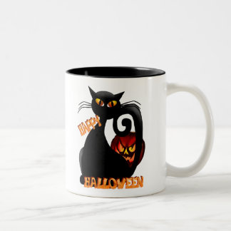 Black Kitty and Evil Halloween Pumpkin Mugs