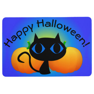 Black Kitty and Pumpkins on Blue Floor Mat