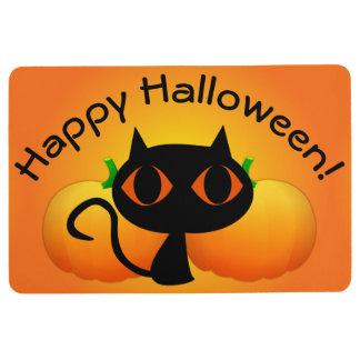 Black Kitty and Pumpkins on Orange Floor Mat