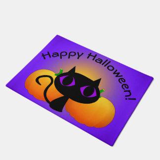 Black Kitty and Pumpkins on Purple Doormat
