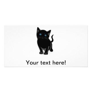 Black kitty cartoon custom photo card