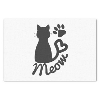 "Black Kitty Cat and ""Meow"" Paw Print Tissue Paper"