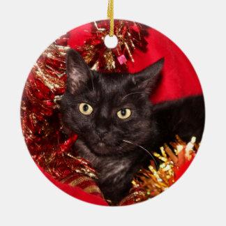 Black kitty cat Christmas Christmas Ornament