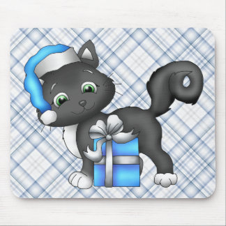 Black Kitty Cat Christmas Holiday Mouse Pad