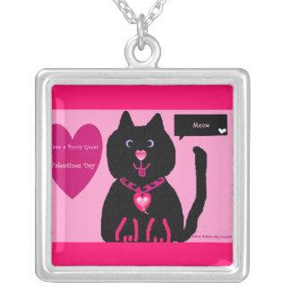Black kitty I love you valentine necklace