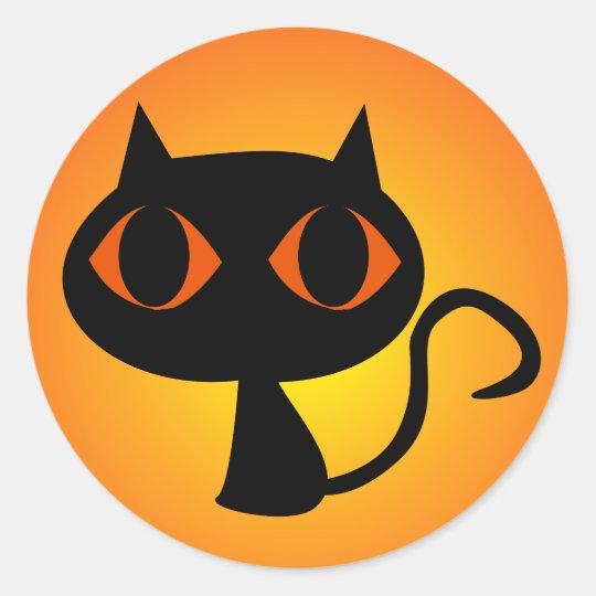 Black Kitty Orange Gradient Classic Round Sticker