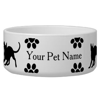 Black Kitty Silhouettes and Paws Dog Food Bowl