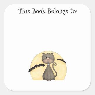 Black Kitty w Bats Square Stickers