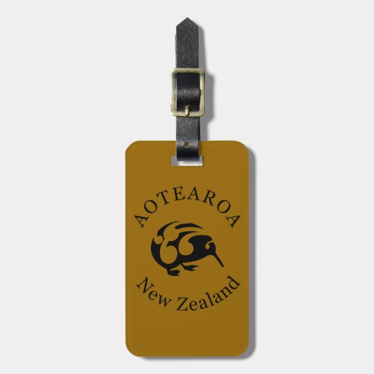 Black KIWI with Koru Luggage Tag