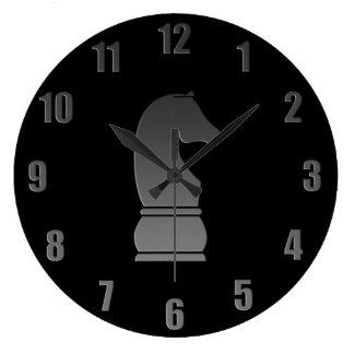 Black knight chess piece large clock
