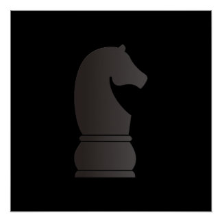 Black knight chess piece poster