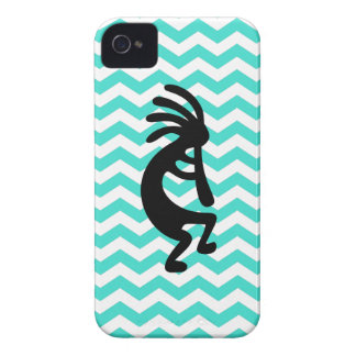 Black Kokopelli Turquoise Zigzag iPhone 4 Covers
