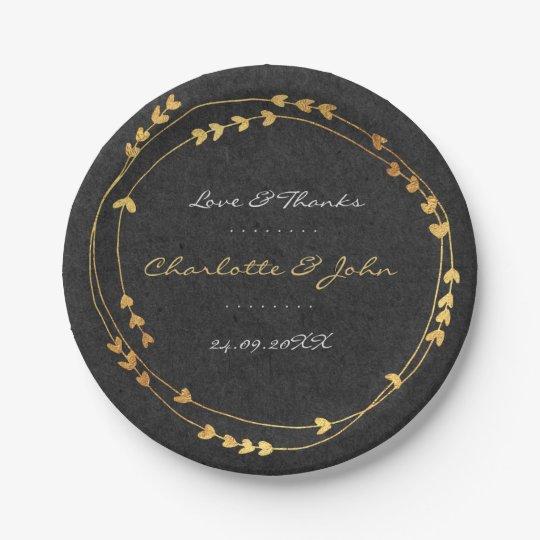 Black Kraft Golden Wreath Heart Wedding Paper Plate