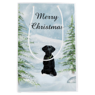 Black lab Christmas Medium Gift Bag
