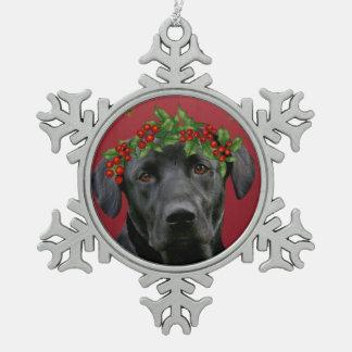 Black Lab Christmas Snowflake Pewter Christmas Ornament