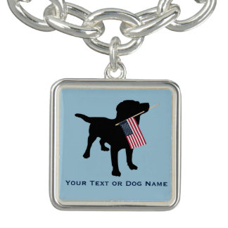 Black Lab Dog holding USA Flag, 4th of July