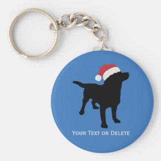 Black Lab Dog wearing Santa Claus Christmas Hat Basic Round Button Key Ring