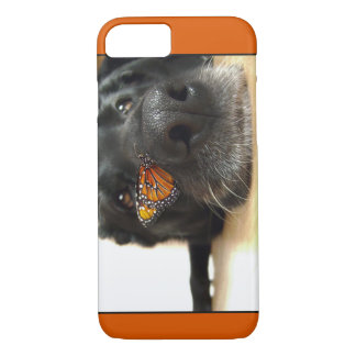 BLack Lab Dog With Butterfly iPhone 8/7 Case