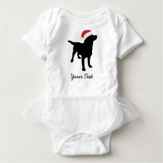 Black Lab Dog with Christmas Santa Hat Baby Bodysuit