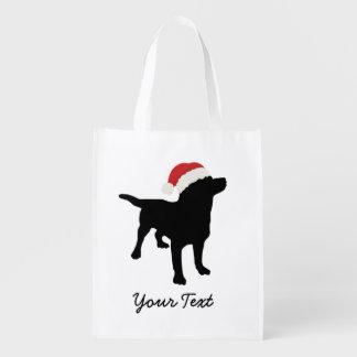 Black Lab Dog with Christmas Santa Hat Reusable Grocery Bag