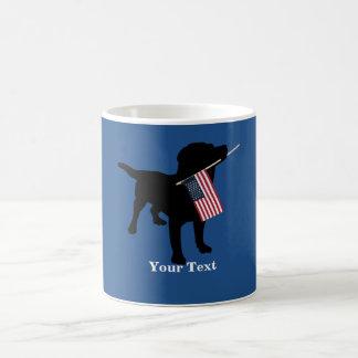 Black Lab Dog with USA American Flag, 4th of July Coffee Mug