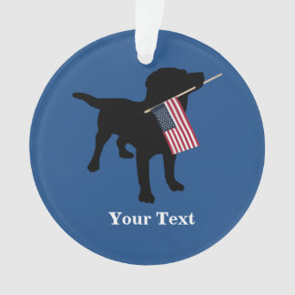 Black Lab Dog with USA American Flag, 4th of July Ornament