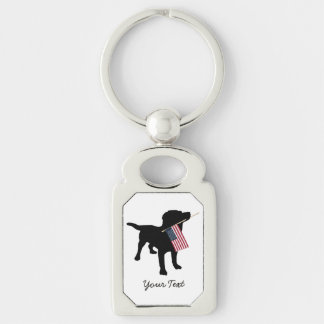 Black Lab Dog with USA American Flag, 4th of July Silver-Colored Rectangle Key Ring