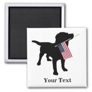 Black Lab Dog with USA American Flag, 4th of July Square Magnet