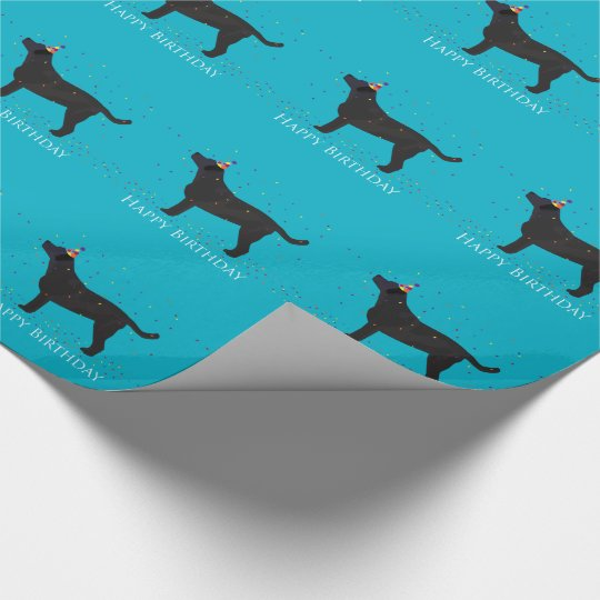 Black Lab Happy Birthday Design Wrapping Paper