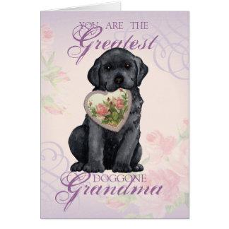 Black Lab Heart Grandma Card