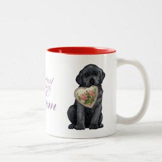 Black Lab Heart Mom Two-Tone Mug