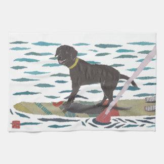 Black Lab, Labrador Retriever, Beach Dog Tea Towel