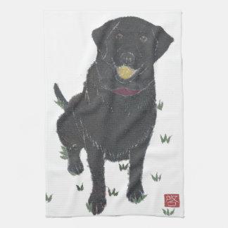 Black Lab, Labrador Retriever Tea Towel