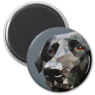 Black Lab Low Poly Art 6 Cm Round Magnet