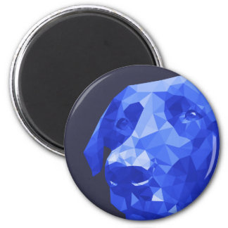 Black Lab Low Poly Art in Blue 6 Cm Round Magnet