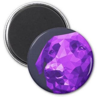 Black Lab Low Poly Art in Purple 6 Cm Round Magnet