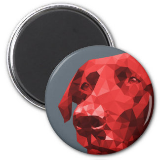 Black Lab Low Poly Art in Red 6 Cm Round Magnet