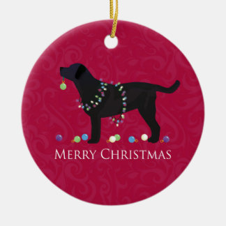Black Lab Merry Christmas Design Christmas Ornament