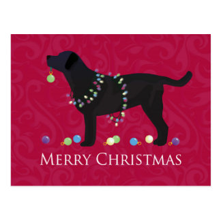 Black Lab Merry Christmas Design Postcard